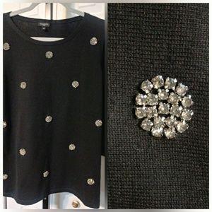 NWOT Talbots Woman Rhinestone  Blk Sweater  1X